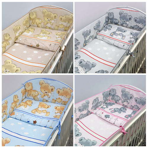 10 Piece Baby Cot Bed Bedding Set with All-Round 420 cm Bumper (140x70cm) - Mika