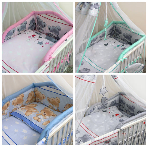 5 Pcs Baby Bedding Set, Padded Safety Bumper Fits Cot Bed 140x70 cm - Mika