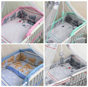 6 Pcs Baby Cot Bed Bedding with Padded Thick Bumper & Fitted Sheet, 140x70 cm - Mika