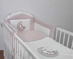 6 Piece pcs Baby Nursery Bedding Set + Sheet For Cot Cotbed Bear Moon Embroidery - babycomfort.co.uk