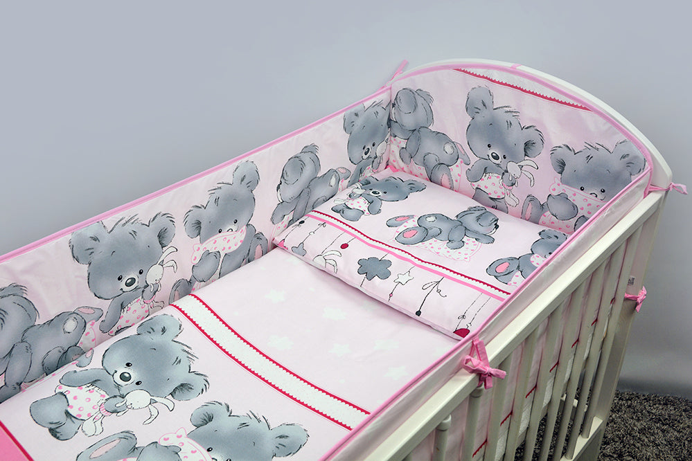 10 Piece Nursery Baby Cot Bedding Set with All-Round 360cm Bumper (120x60cm) - Mika - babycomfort.co.uk