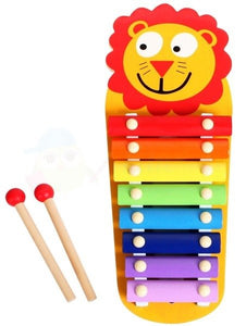 Toy Xylophone for Children, Wooden Musical Instrument with Bright Multi-Coloured Metal Bars and Child-Safe Mallets-Leo