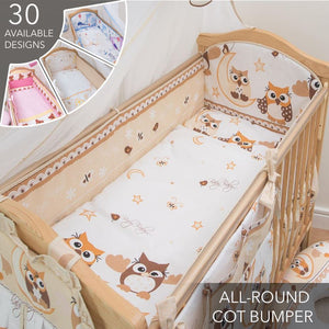 3 Pcs Baby Cot Bedding Set With Large All Round Safety Bumper - babycomfort.co.uk
