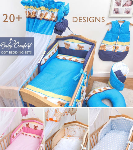 10 Piece Baby Cot Bedding Set 140/120 Duvet Cover Cot Bed Safety Bumper Canopy - babycomfort.co.uk