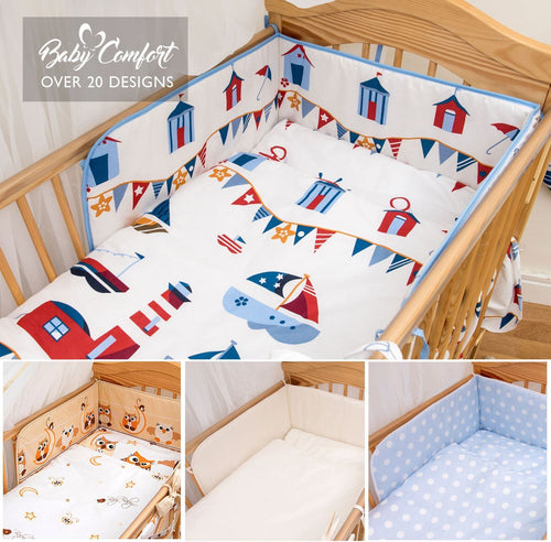 6 Piece Baby Toddler Cot CotBed Bedding Set Regular Safety Bumper + Cotton Sheet - babycomfort.co.uk