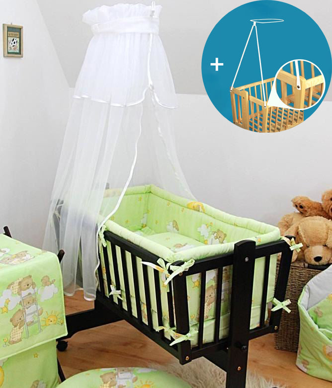 Crown Canopy / Drape / Mosquito Net + Holder To Fit Crib / Cradle / Moses Basket - babycomfort.co.uk