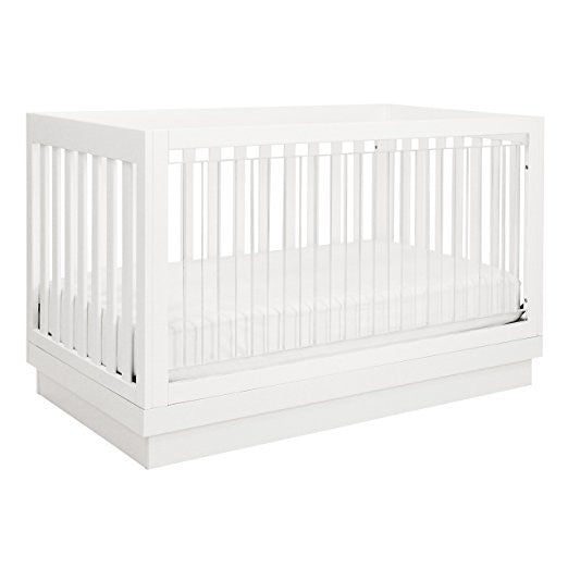 BABYLETTO Harlow 3-in-1 Convertible Acrylic Crib (with Toddler Bed Conversion Kit)