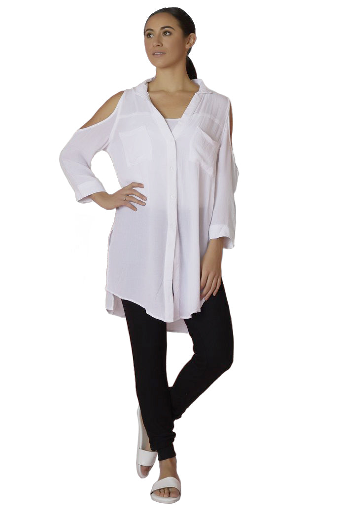 Elan Button Down Cold Shoulder - Love Leeann