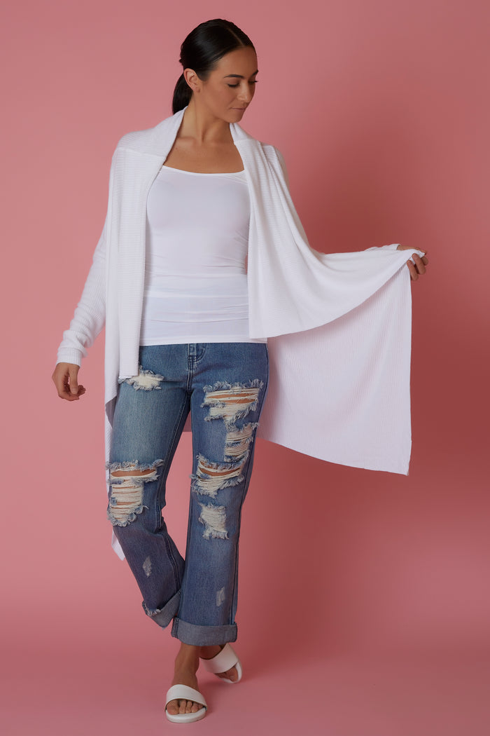 Sen Cozy White Cardigan - Love Leeann