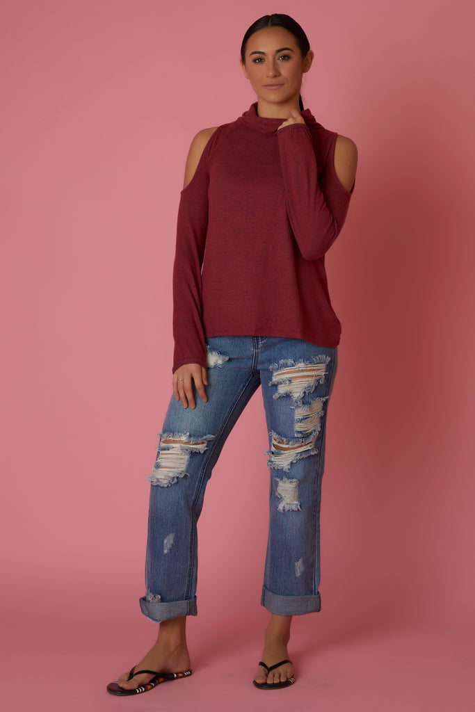 Bobeau Cold Shoulder Sweater