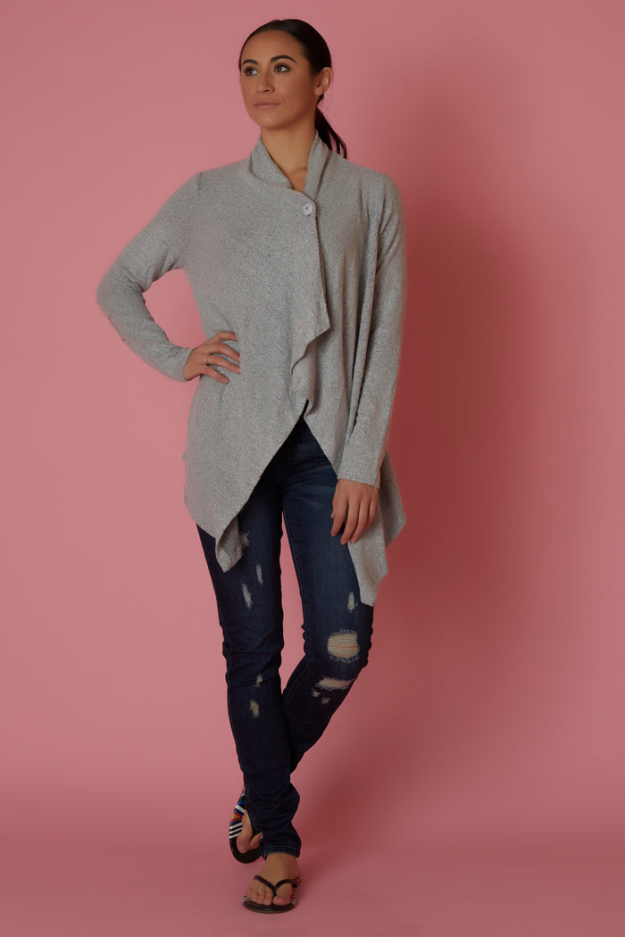 Bobeau Grey Button Front Cardigan - Love Leeann
