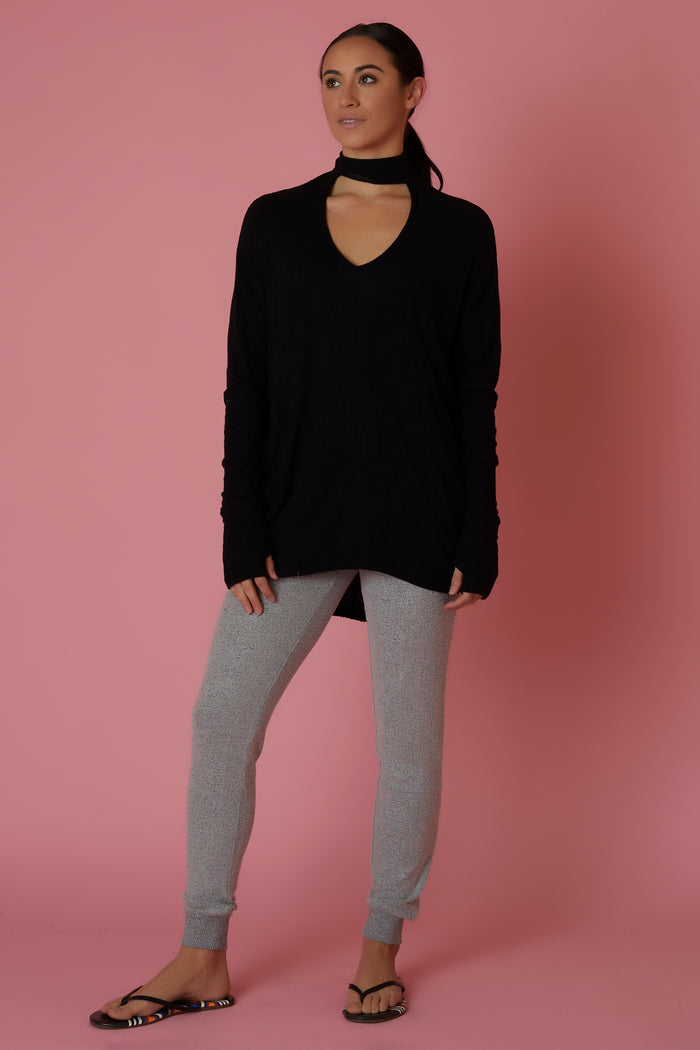 Sen Black Choker Sweater - Love Leeann