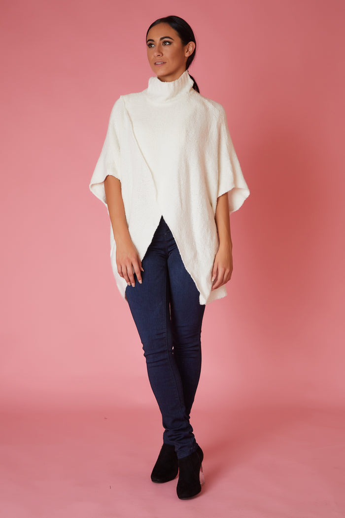 Turtle Neck Elan Wrap Crop Front Sweater