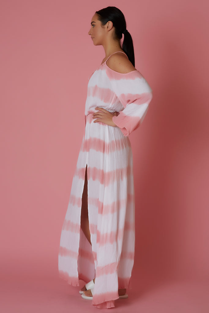 Elan White & Pink Cold Shoulder Maxi Dress - Love Leeann