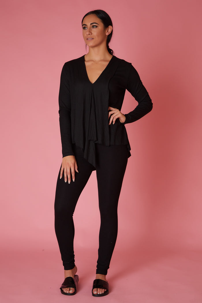 Elan Ribbed Drape Front Top - Love Leeann