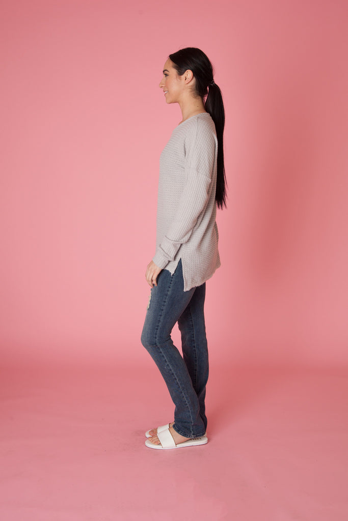Thermal Drop Shoulder Sweater - Love Leeann