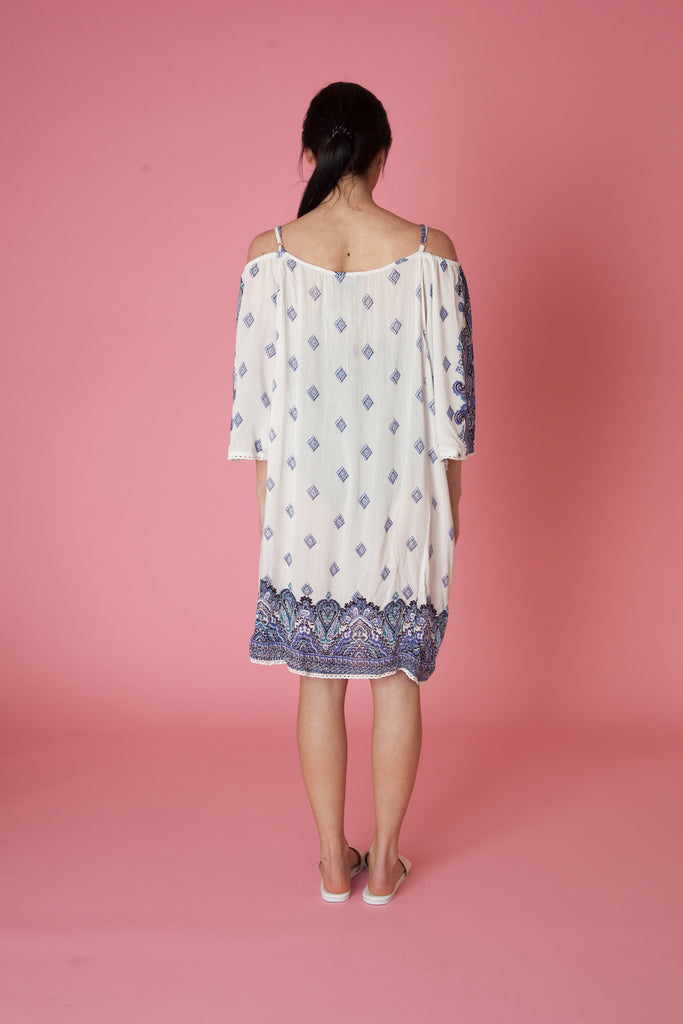 Printed Cold Shoulder Dress - Love Leeann