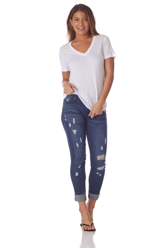 Grey Labs V-Neck Perfect Tee in White - Love Leeann
