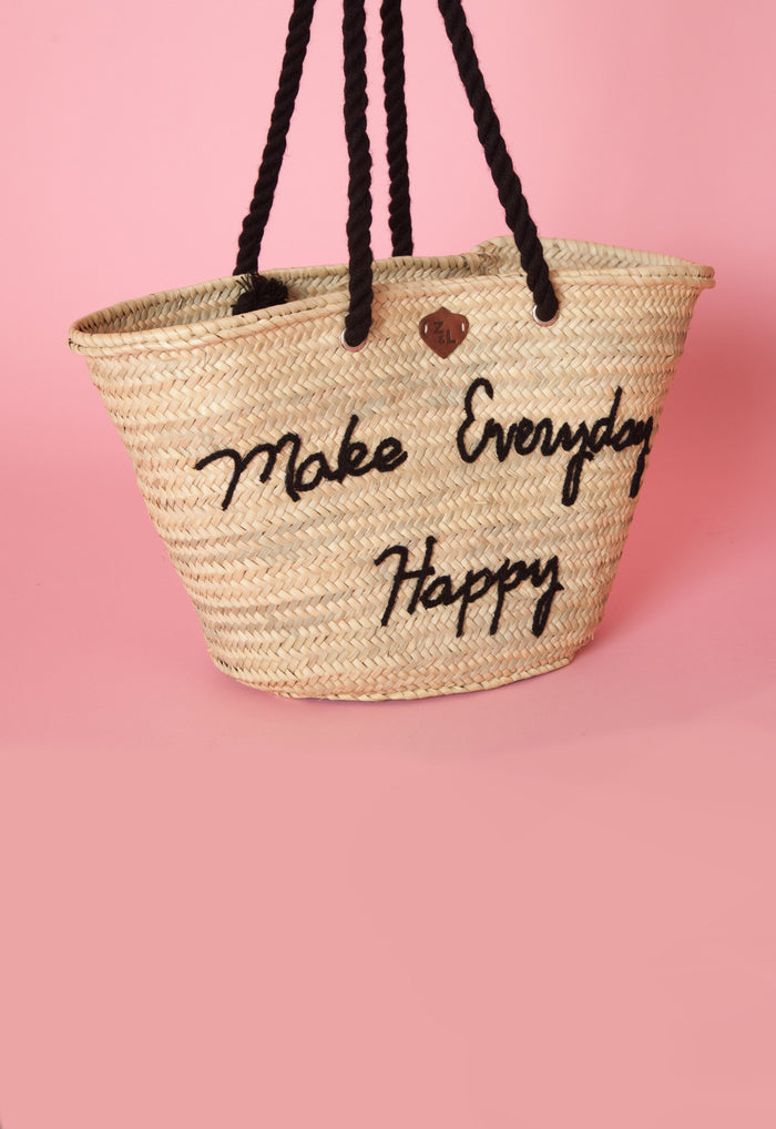 Make Everyday Happy Straw Bag - Love Leeann