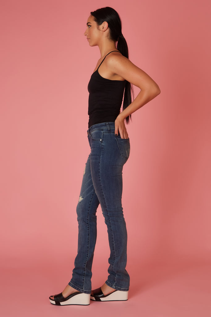 Slim Fit Distressed Boyfriend Denim - Love Leeann