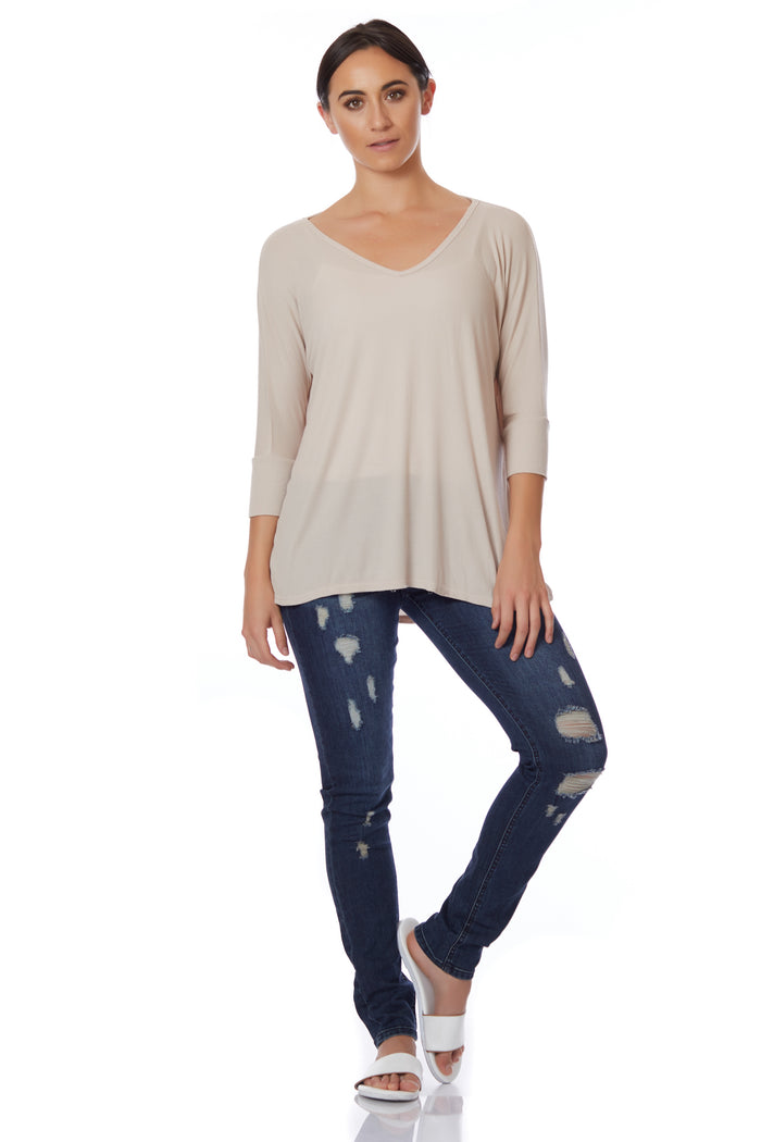 Michael Lauren V-Neck Oatmeal 3/4 Tee - Love Leeann