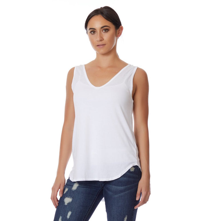 Michael Lauren V neck High Low Tank - Love Leeann