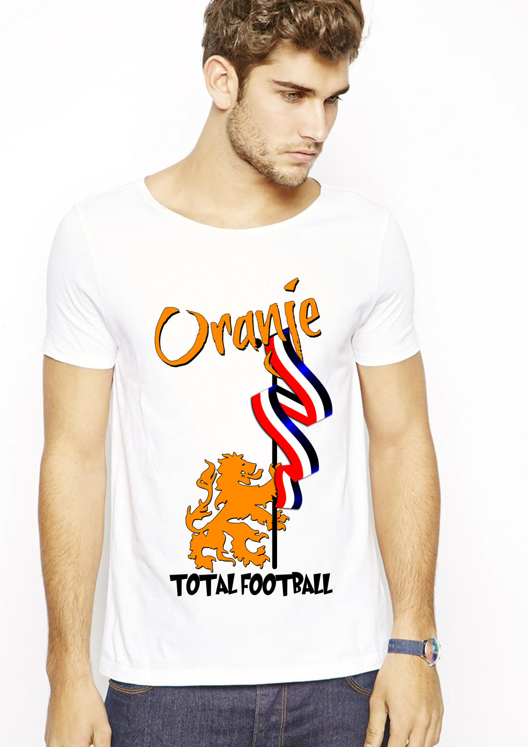 Total football white half sleeve t-shirt
