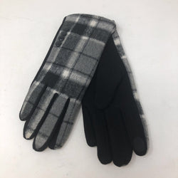 Gloves - Black and Grey Plaid