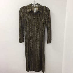 DVF Silk Dress Brown Cream 2