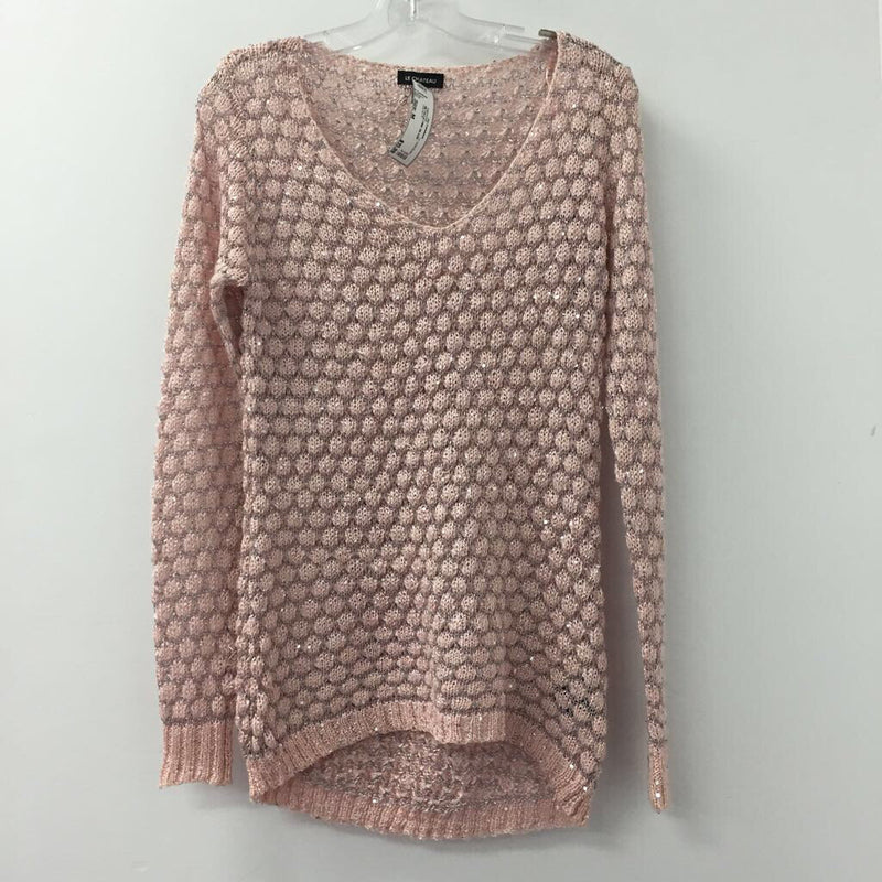 LE CHATEAU WOMEN'S SWEATER PINK SILVER M