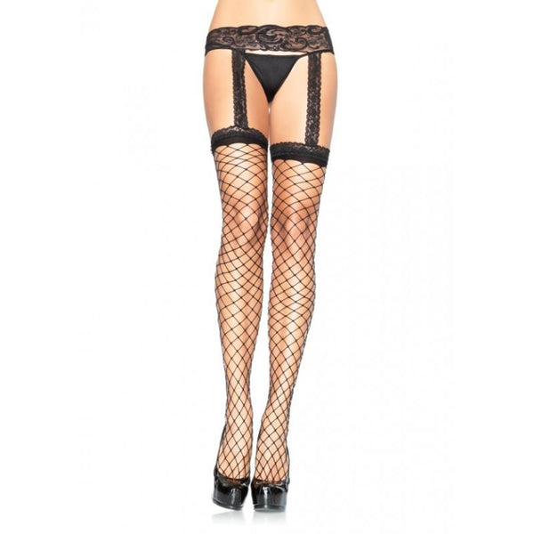 Leg Avenue Fence Net Stockings With Suspender - Leggsbeautiful