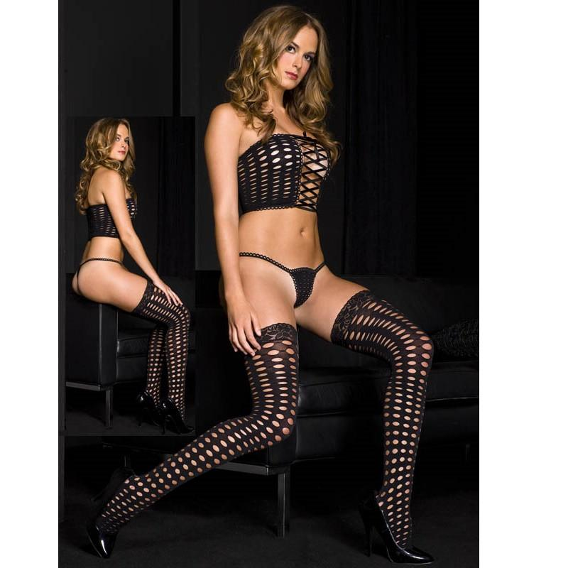 Leg Avenue Three Piece Crochet Lingerie Set - Leggsbeautiful