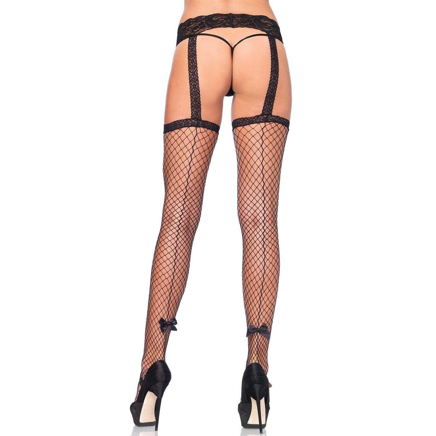 Leg Avenue Seamed Garterbelt Stockings W/Bow - Leggsbeautiful