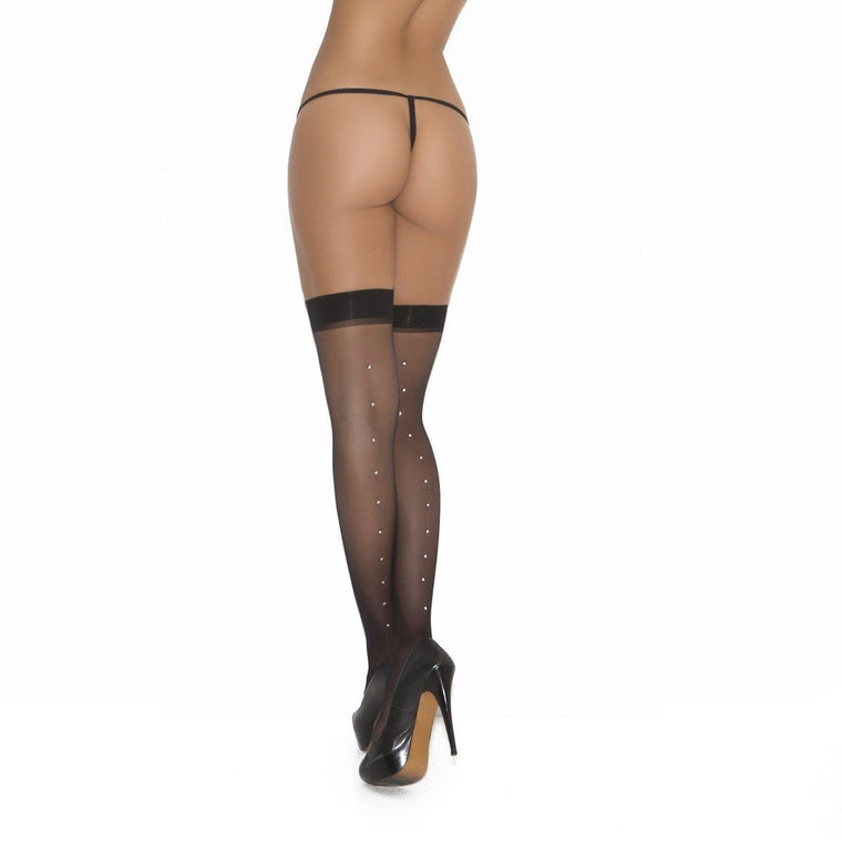 Elegant Moments Stockings W/Rhinestone Backseam Plus Size