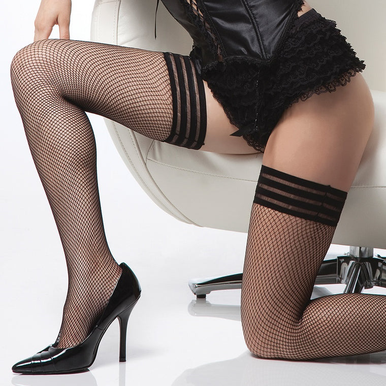 Coquette Tri-Band Fishnets Hold Ups