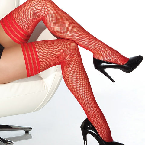Coquette Tri-Band Fishnets Hold Ups - Leggsbeautiful
