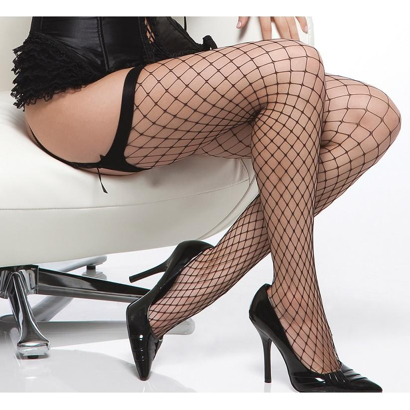 Coquette Diamond Net Plain Top Stockings - Leggsbeautiful