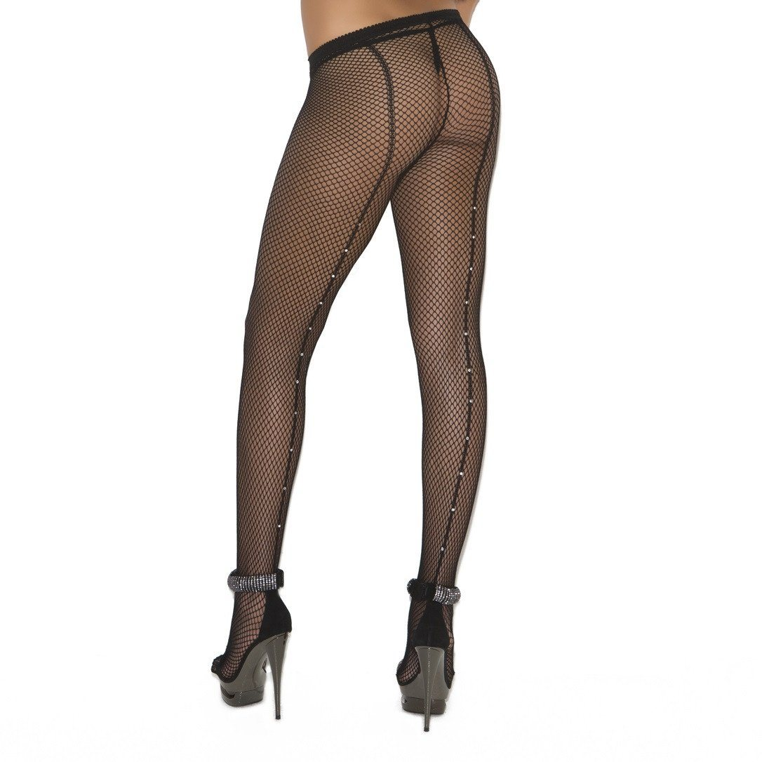 Elegant Moments Fishnets W/Diamante Backseam Plus Size - Leggsbeautiful