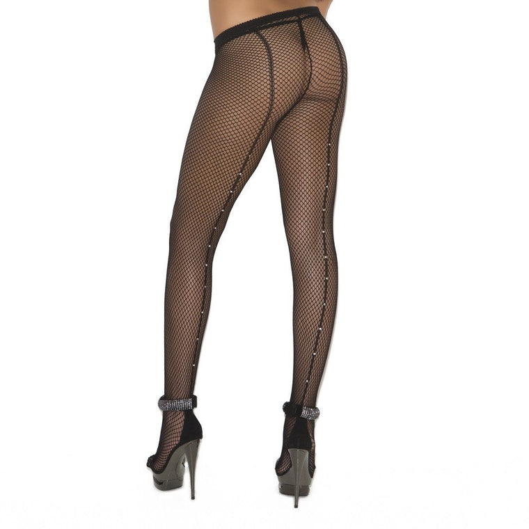 Elegant Moments Fishnets W/Diamante Backseam Plus Size