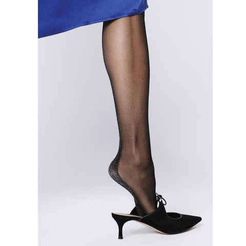 Fiore EST 20 Denier Lurex Cuban Heel & Seam Tights - Leggsbeautiful