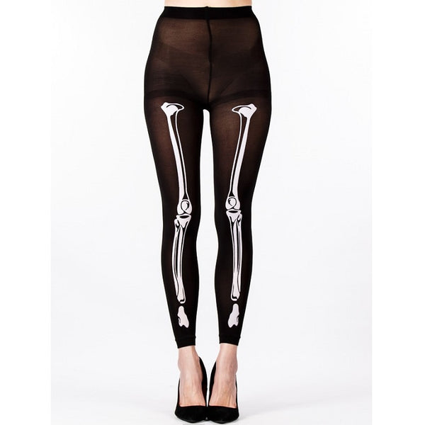"""Onesize White Opaque /""""Skeleton Spine/"""" Footless Tights by Flirt"""