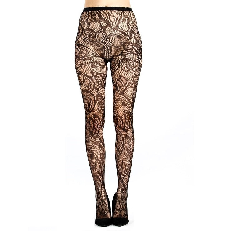 Floral Pattern Stretch Fishnet Tights