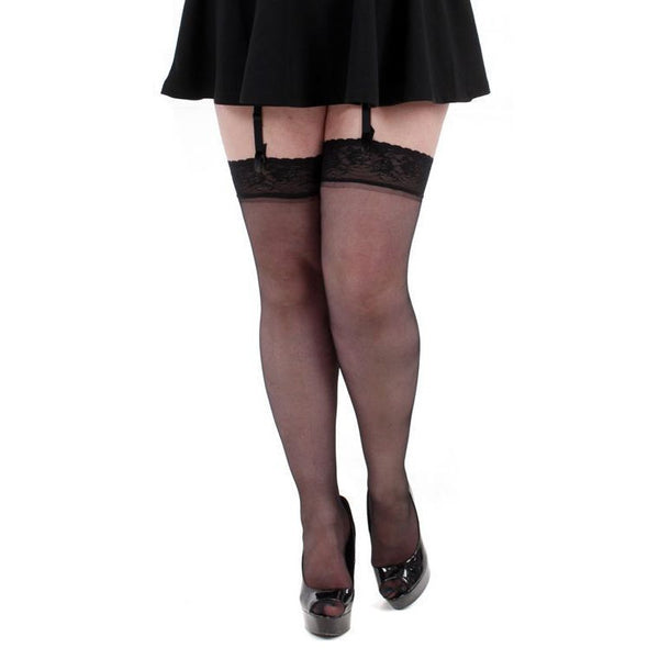 Pamela Mann Sheer Plus Size Lace Top Stockings