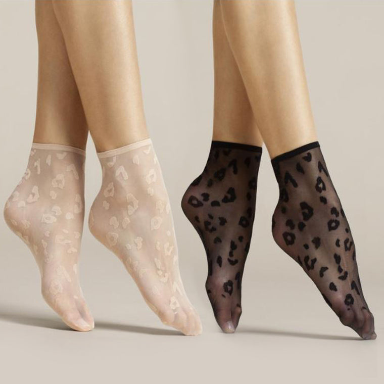 Fiore Doria Sheer Leopard Nylon Ankle Socks