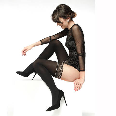 572862a17e5 Andrea Bucci 50 Denier Lace Top Opaque Hold Ups. £12.00 · Andrea Bucci High  Sheen Polka Dot Tights