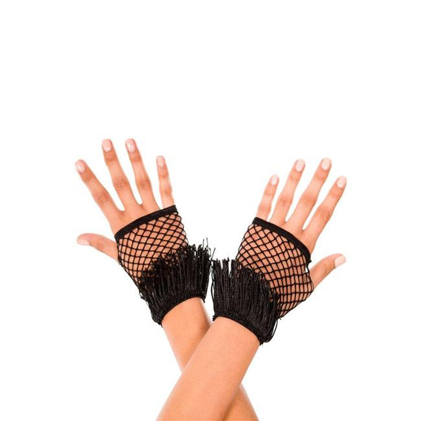 Music Legs Fringed Fingerless Net Gloves - Leggsbeautiful