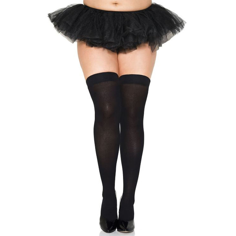 Leg Avenue Opaque Thigh Highs Plus Size