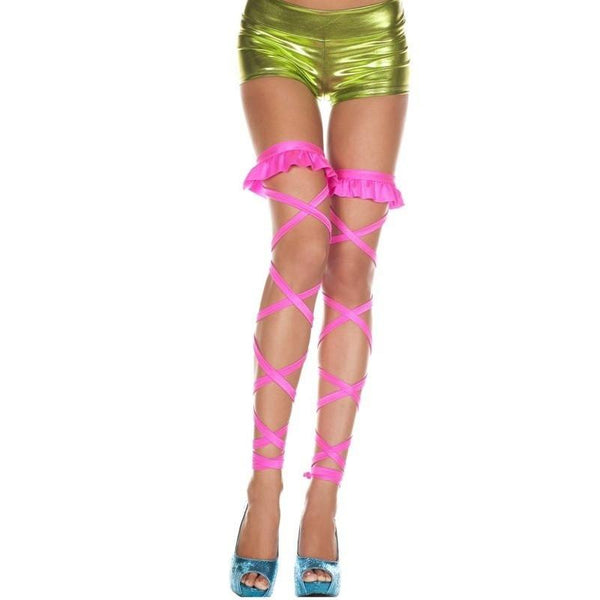 Music Legs Elasticated Leg Wraps With Frill Top - Leggsbeautiful