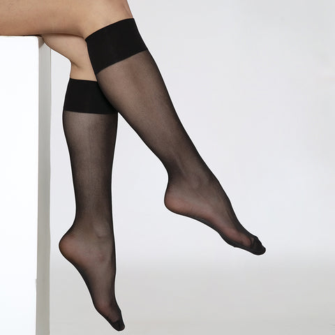 ANDREA BUCCI EXTRA WIDE COMFORT TOP SHEER KNEE HIGHS 2PP - Leggsbeautiful