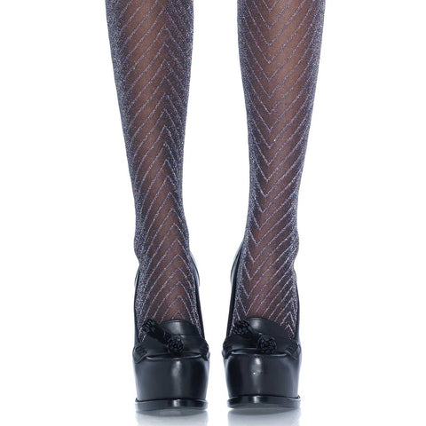 Leg Avenue Lurex Zig Zag Chevron Tights - Leggsbeautiful